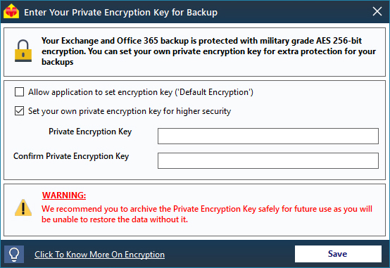 Office 365 Backup - AES 256-bit Encryption