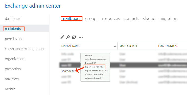 Export Exchange 2013 Mailbox to Outlook PST