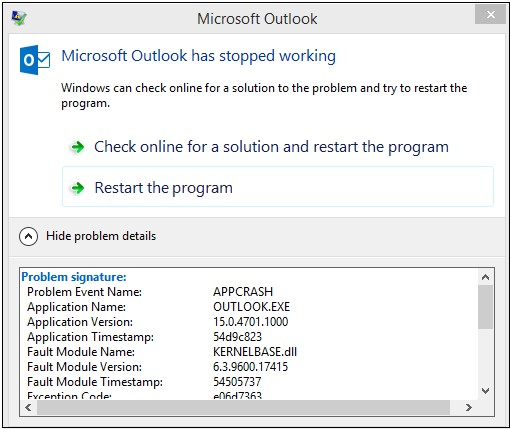 Microsoft Outlook Crashes with 'KERNELBASE DLL' due to