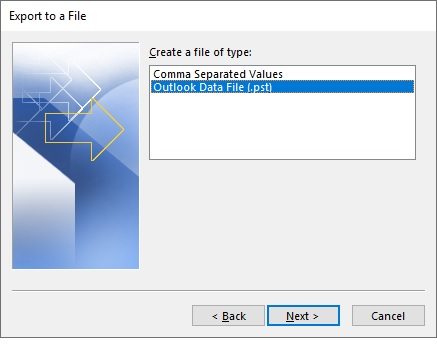 Export to File OST to PST