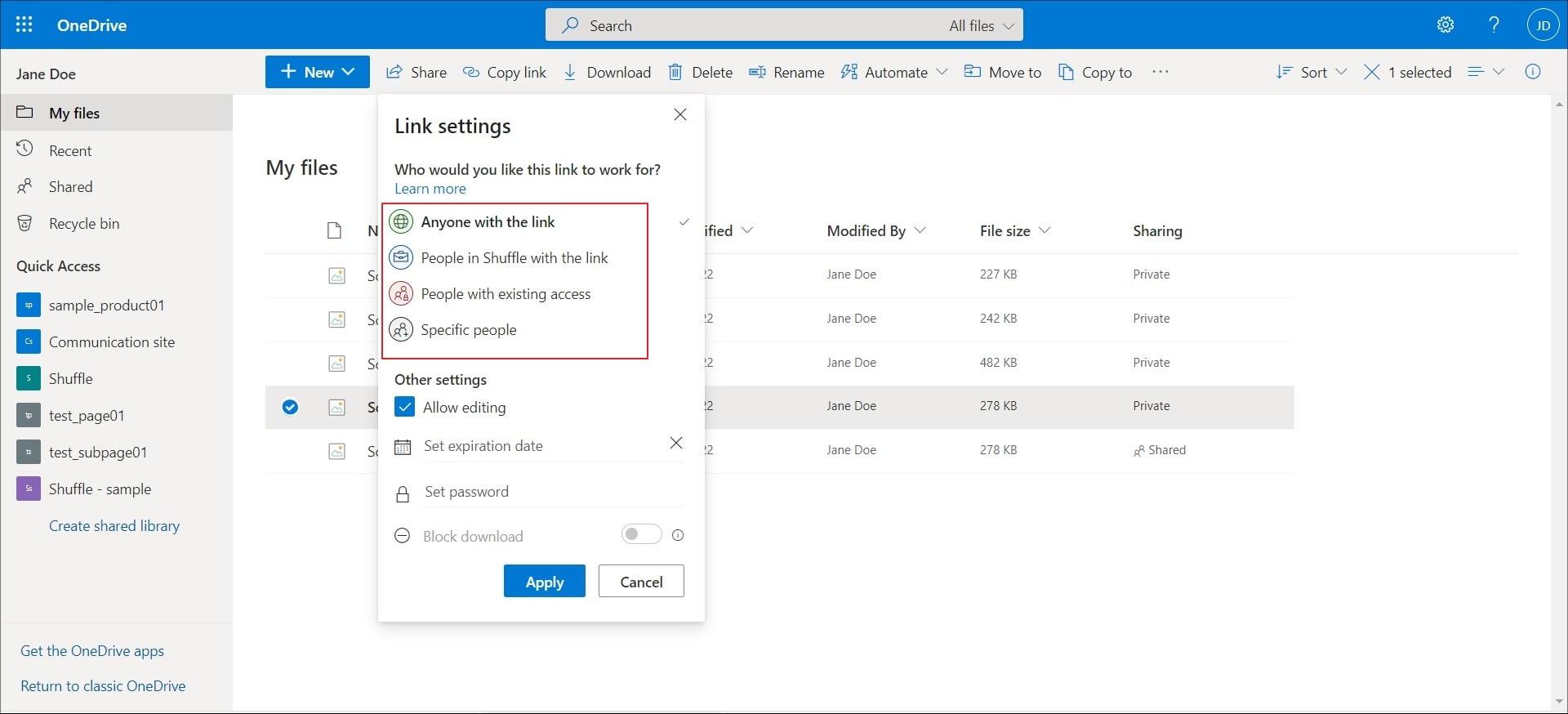 link-setting