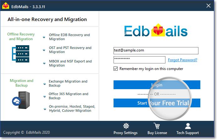 Login to EdbMails aplication